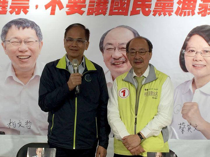 行政院前院長游錫堃與柯建銘有革命感情;他呼籲新竹市選民集中選票,支持柯建銘。記者李青霖/攝影