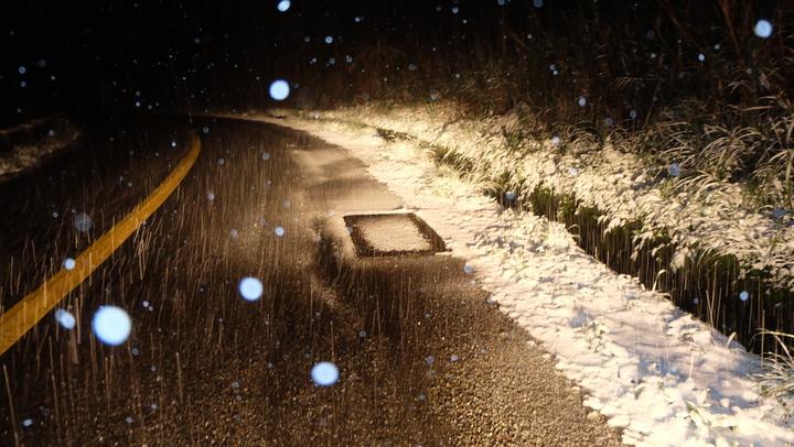昨天(23日)晚間五分山溫度、濕度達到降雪標準,11點40分左右開始飄雪,直到凌晨6點天亮之前都有白雪一陣陣迎風飄下。記者張芮瑜/攝影