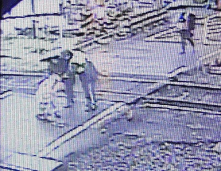 一名阿嬤水果掉在平交道鐵軌上,員警及時救援。圖/警方提供