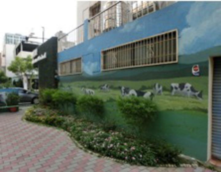 台南市南區金華里在里長和社區志工努力下,替社區牆面添上可愛彩繪,讓位處都市中的金華社區顯得綠意盎然。圖/環保署提供