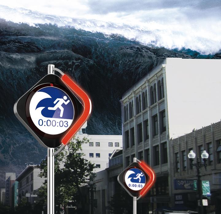 海嘯避難系統(Tsunami Warning System),平時是一般交通號誌,接到海嘯警報後會轉變成避難號誌,指引人們避難所方向。圖/台科大提供