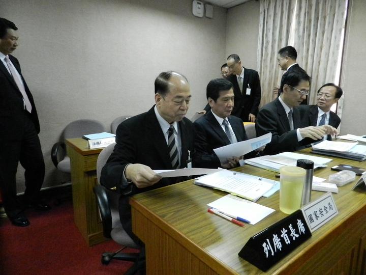 國安局長楊國強(前排左一)。記者洪哲政/攝影