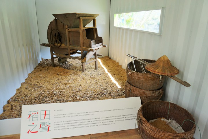 聽覺體驗區放置一台傳統碾米機,民眾聆聽稻米翻搗的聲音,認識食物的多種樣貌。記者吳佩旻/攝影
