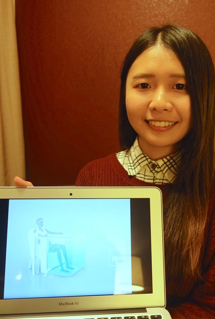 雲林科技大學碩士生許姿屏設計作品「Bath Chair」,結合洗澡椅與浴缸,外型與功能都令評審驚艷,勇奪行動組第二名。記者江慧珺/攝影