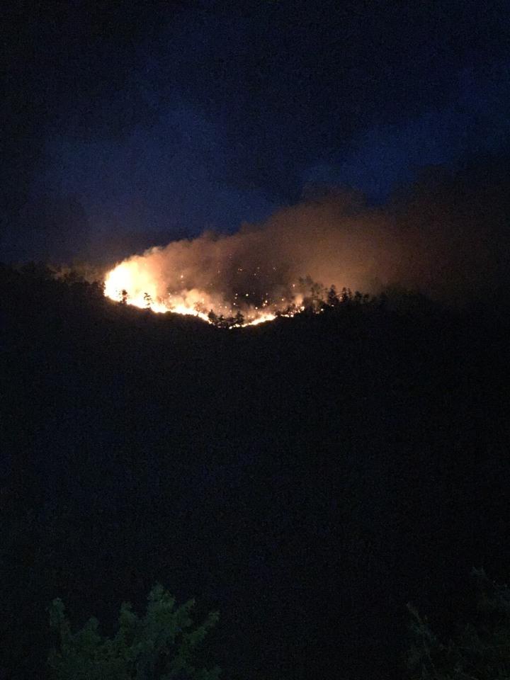 台中市和平區第38林班地因炊煮不慎,今日下午引發大火,火勢仍在搶救中。圖/台中市消防局提供