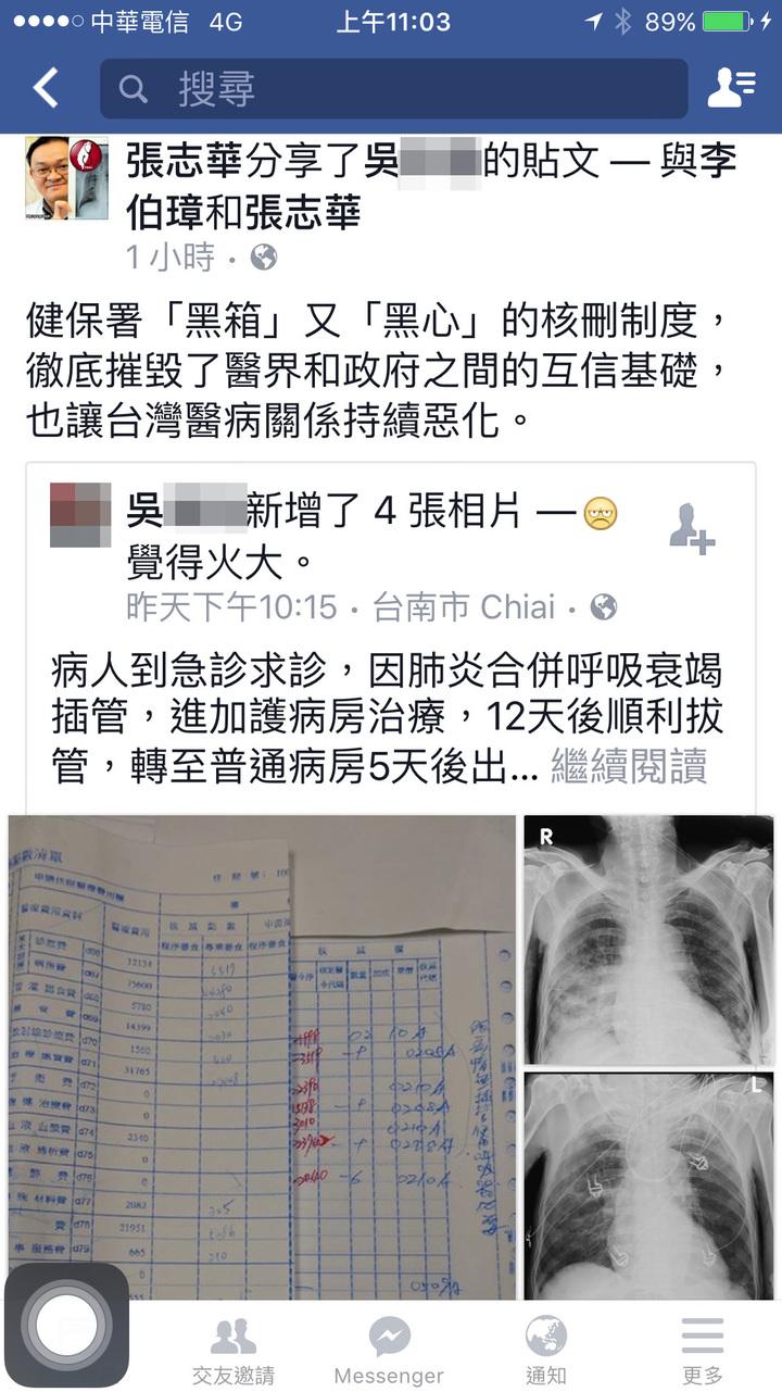 醫勞盟理事長張志華今早轉貼台南一名吳姓醫師遭健保不合理核刪醫療費用。圖/翻攝自張志華臉書