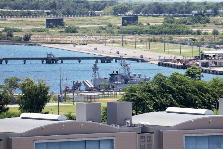海軍金江軍艦停泊左營未移動。記者劉學聖/攝影