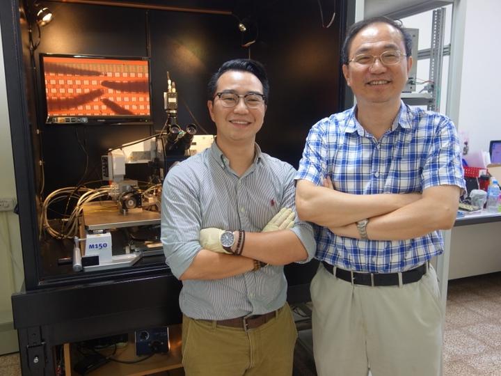 在講座教授張鼎張(右)的啟發下,中山大學材料與光電科學系研究所博士生朱天健(左)三年內共發表20篇SCI國際期刊論文。圖/中山大學提供