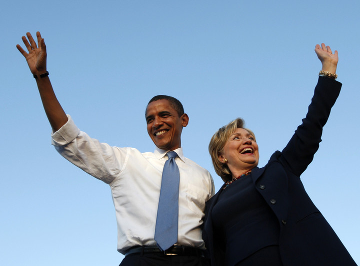 歐巴馬5日替希拉蕊站台競選。(路透)
