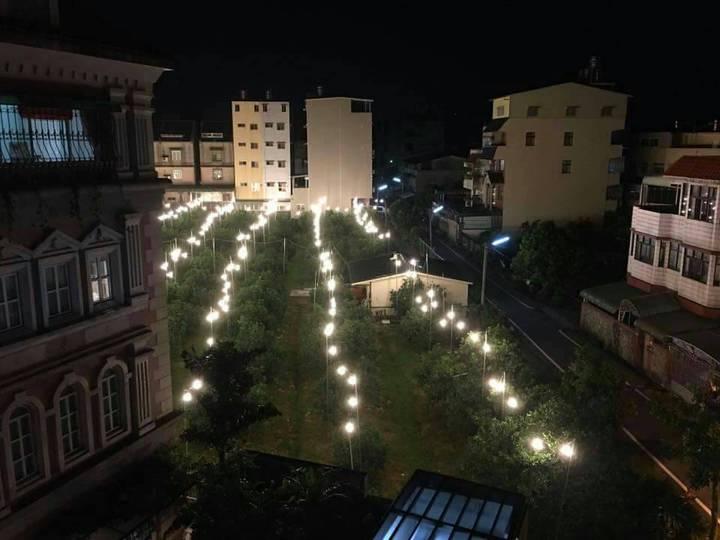 文旦博士許明舜透過自架燈泡讓文旦多點照明,以補光照不足,成功調節果樹開花期,讓路過內環路橋的民眾嘖嘖稱奇。記者胡瑋芳/攝影