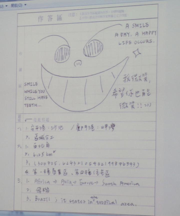 指考考生在答案卡卷上作與答案無關的塗鴉,一律扣2分。記者王彩鸝/攝影