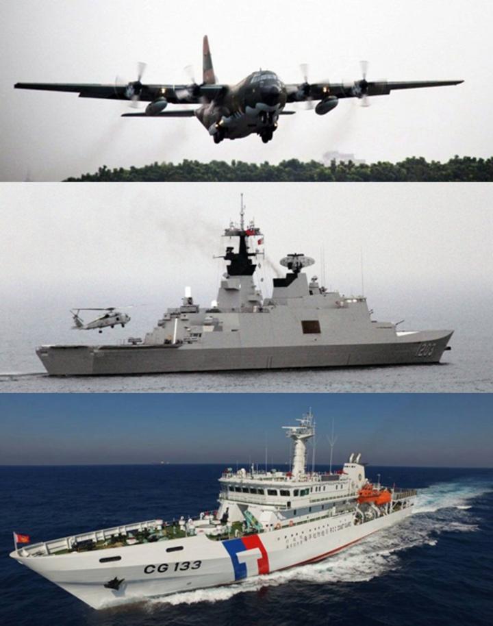 結合空軍C-130運輸機(由上至下)的聯平操演,海軍由康定級艦執行的南沙定期偵巡與海巡署台東艦的碧海操演,為蔡總統可能最快下周登上太平島視導的交通與周邊行政、維安措施,預作部署。記者洪哲政攝影、海巡署提供