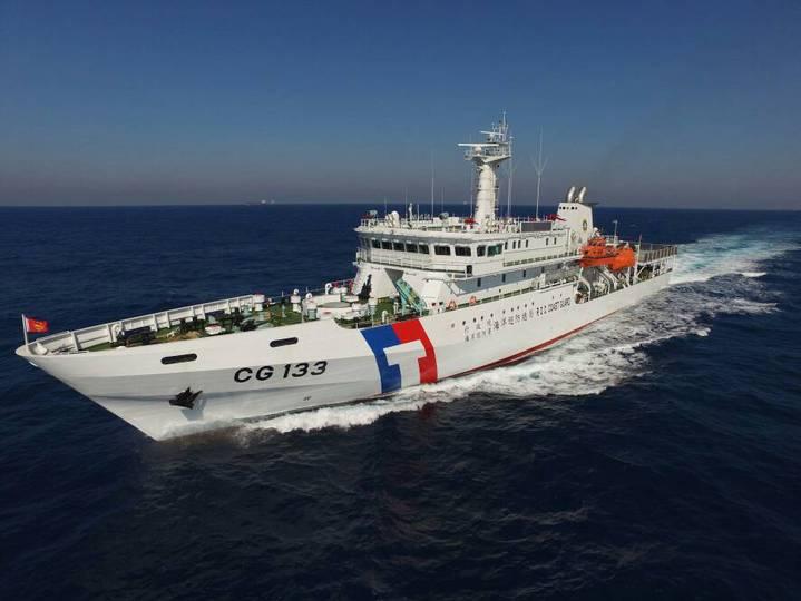 海巡署台東艦預計明日出發前往太平島周邊海域執行巡護任務。記者洪哲政/攝影