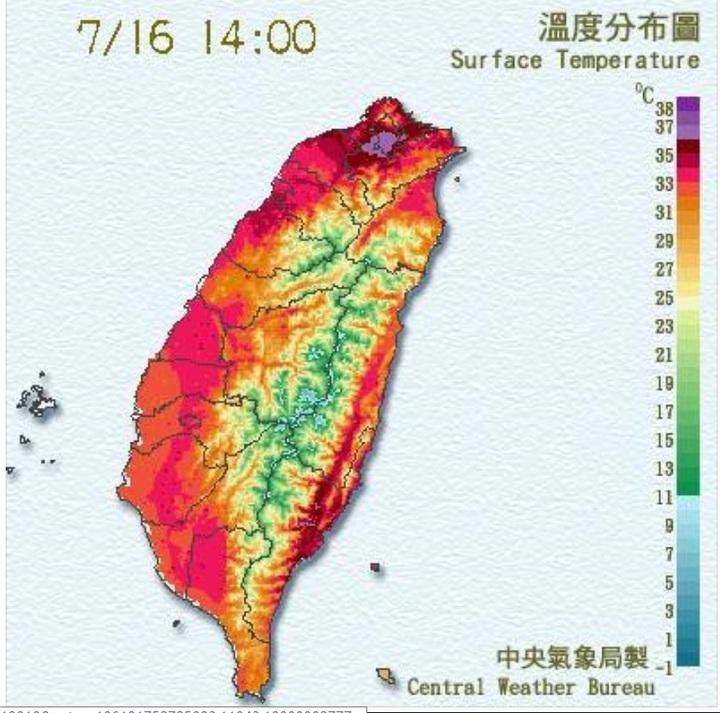 台北常常熱到發紫。圖/中央氣象局提供