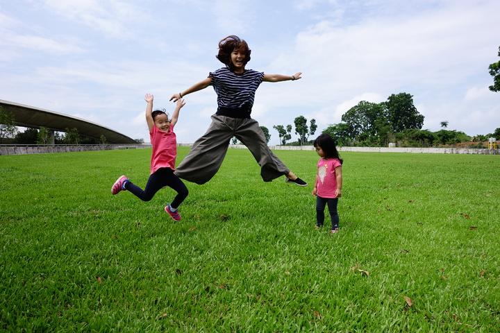 新加坡在屋頂上種草皮降溫,圖為新加坡濱海堤壩(Marina Barrage)上一片有10座足球場的草皮。記者董俞佳/攝影