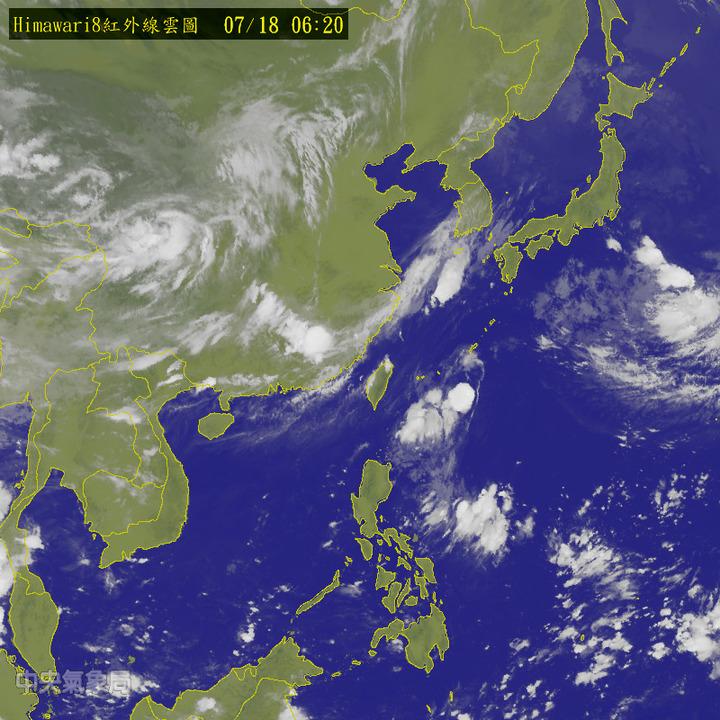 今天各地大多為多雲到晴、高溫炎熱的天氣。圖/翻攝自中央氣象局網站