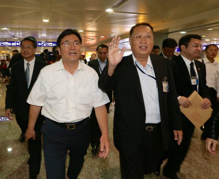 大陸海旅會秘書長劉克智(左),20日下午率領4人工作小組抵台。記者陳嘉寧/攝影