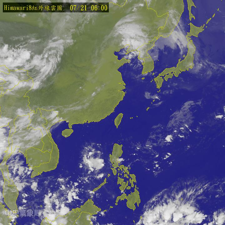今天太平洋高壓影響,各地大多為晴到多雲、高溫炎熱的天氣。圖/翻攝自中央氣象局網站