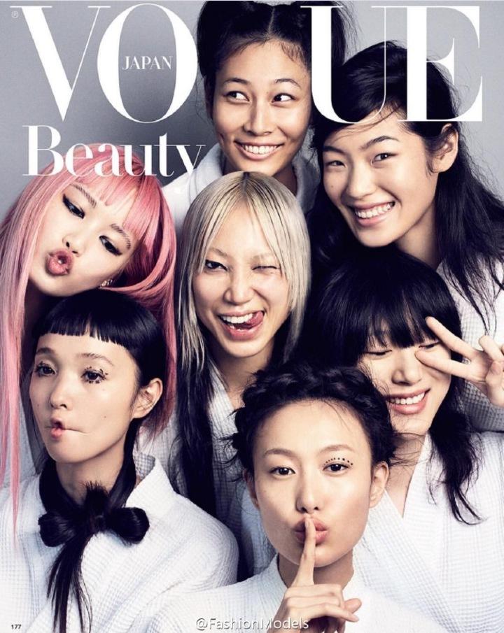 秦舒培與亞洲6大超模拍攝日版Vogue9月號。圖/摘自秦舒培微博