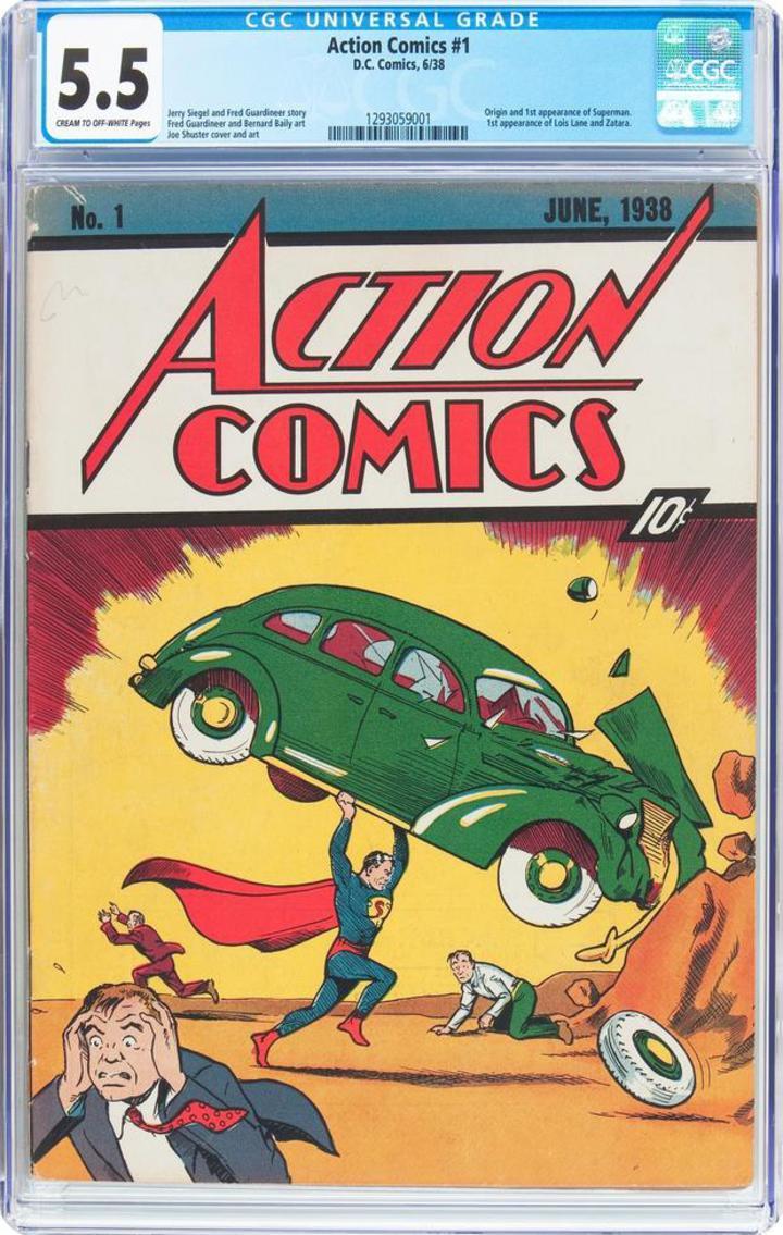 這本13頁的第一部超人漫畫書「Action Comics No.1」剛出版時,一本售價僅10美分,據傳這版漫畫在全世界僅存100本。(網路照片)