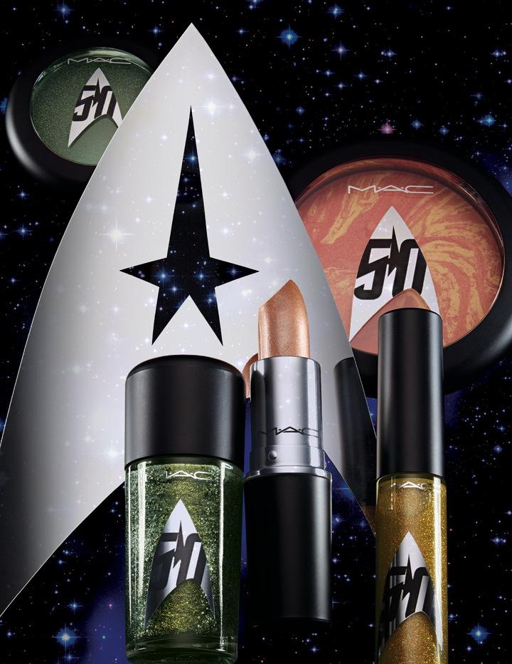 M.A.C X Star Trek星際爭霸戰限量聯名彩妝不論包裝或色彩選擇都很有宇宙感。圖/M.A.C提供