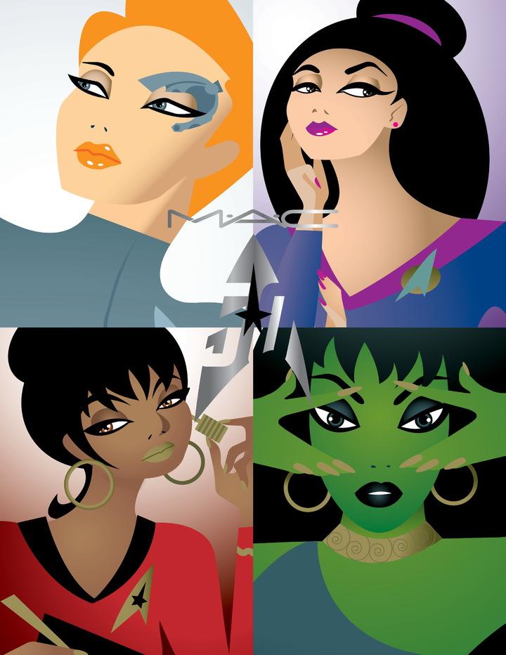 M.A.C X Star Trek星際爭霸戰限量聯名彩妝彩妝以《星艦爭霸戰》4位著名的女性角色為設計靈感。圖/M.A.C提供