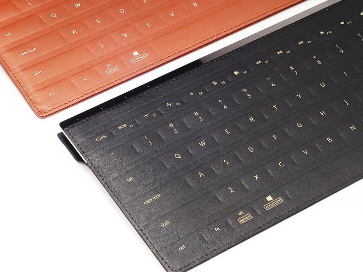 和碩聯合科技(4938)PEGACASA設計團隊此次獲獎作品PulsumType皮革感壓鍵盤,利用高質感皮革工藝技術,包覆僅3釐米極輕薄的鍵盤本體,內建多段式觸覺反饋,使用者可依照個人使用習慣設定壓力感測靈敏度。照片/和碩集團提供。