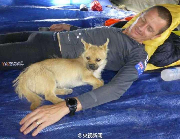 超馬選手李奧納與「戈壁」在休息。(央視新聞)