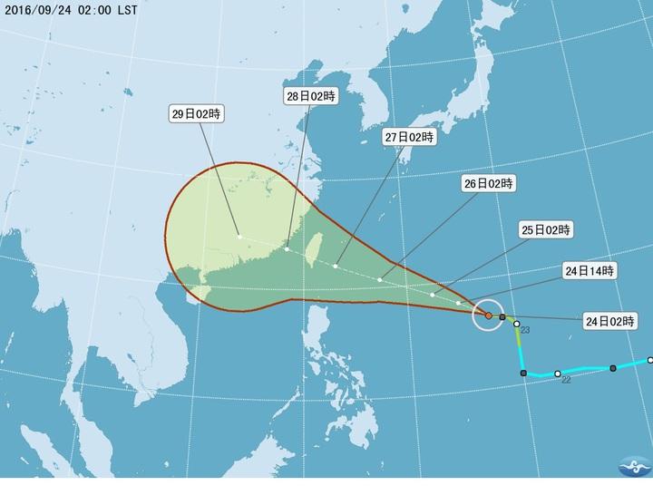 根據中央氣象局預測,梅姬颱風下周二影響最大。圖/取自中央氣象局網站