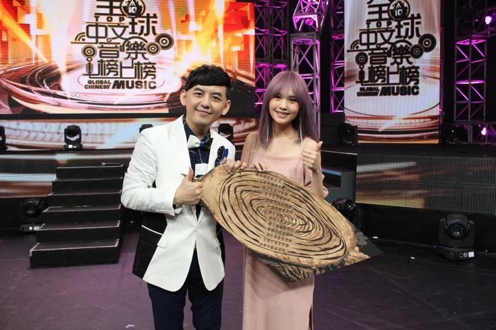 黃子佼(左)用「年輪」寫出藏頭詩送楊丞琳。圖/TVBS提供