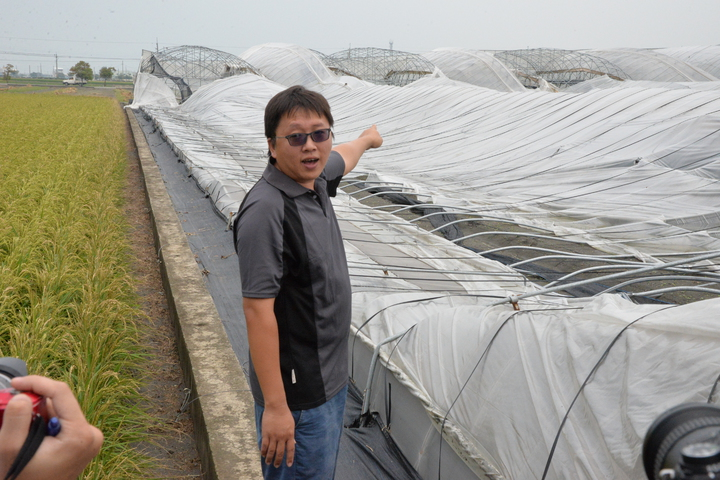 青年農民黃浚宏3年前向農會貸款搭建溫室投入有機蔬菜種植,梅姬颱風將面積4分地溫室破壞殆盡,心血全部泡湯。圖/雲林縣政府提供
