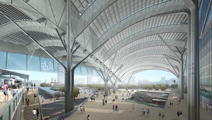 兩年後才會完工現形的新台中火車站都市(車站)大廳講究通風和照明,也是全台第一個開放式車站。圖/張樞提供