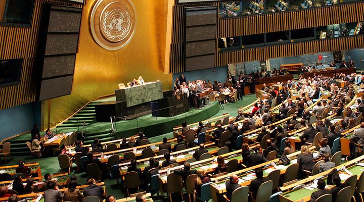 圖為聯合國大會會場。路透