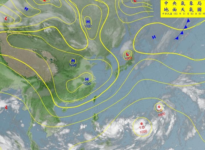 目前在關島附近海域有兩個熱帶性低氣壓發展,未來皆有形成輕度颱風的機率。圖/翻攝自中央氣象局網站