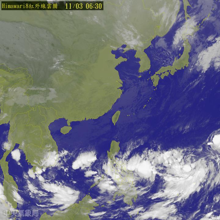 今天北部及東半部地區有局部短暫雨,其他地區為多雲到晴。圖/翻攝自中央氣象局網站