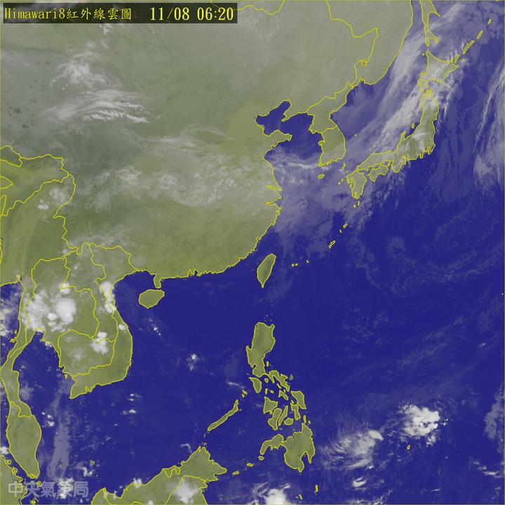 今天中午起鋒面通過及東北季風增強。圖/翻攝自氣象局網站