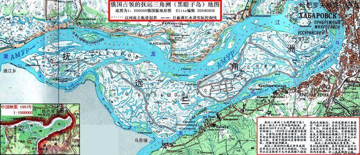 圖為中俄邊界黑瞎子島地圖。(新浪博客)