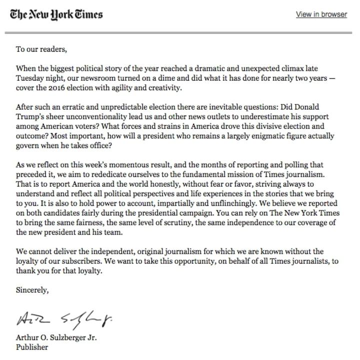 川普當選 紐約時報承認看走眼