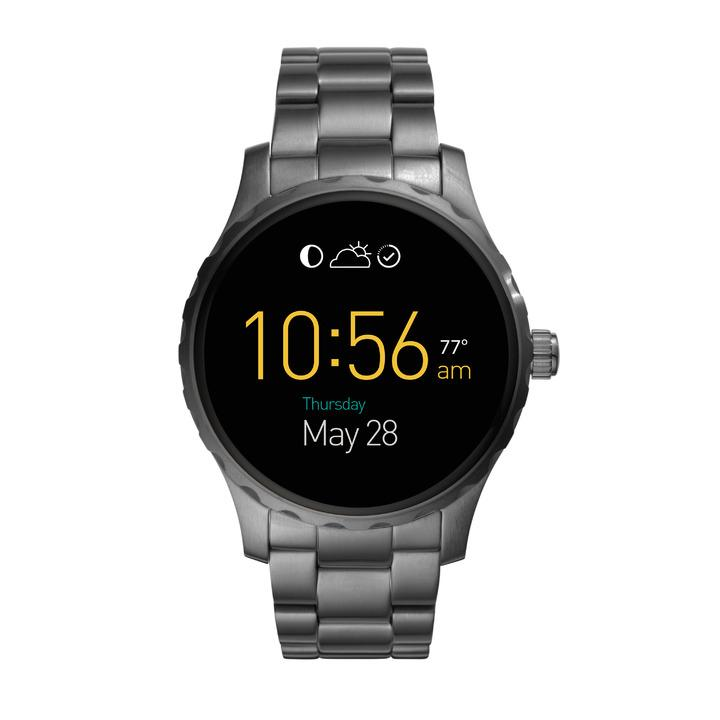 Fossil Q Marshal 觸控式螢幕配精鋼霧黑色表帶,11,400元。圖/Fossil提供