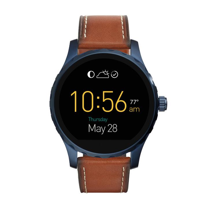 Fossil Q Marshal觸控式螢幕配咖啡色皮革表帶,10,500元。圖/Fossil提供