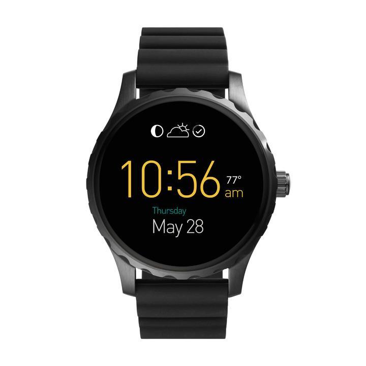Fossil Q Marshal觸控式螢幕配黑色矽膠表帶,10,500元。圖/Fossil提供