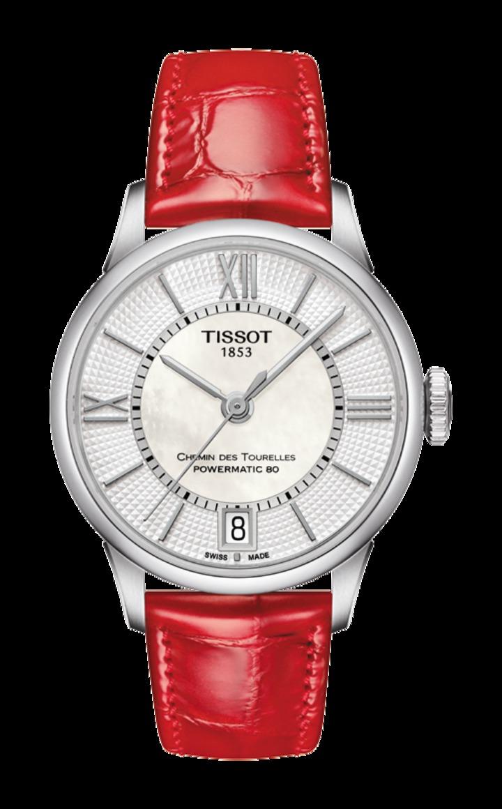天梭杜魯爾系列機械動力女款腕表,23,600元。圖/TISSOT提供