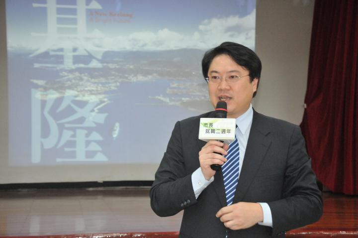 基隆市長林右昌今舉行就職2周年記者會,宣布一定爭取連任成功。記者游明煌/攝影