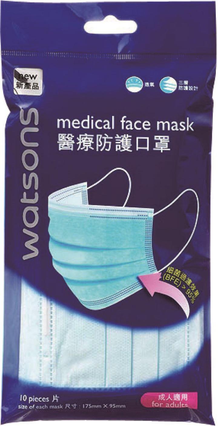 防禦流感,屈臣氏藥師建議隨身攜帶醫療防護口罩,從個人衛生做起。圖/屈臣氏提供