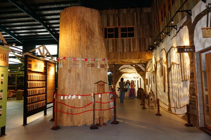 高5公尺,需6人環抱的2000年巨大台灣紅檜,是愛木村鎮廠之寶。記者林伯驊/攝影
