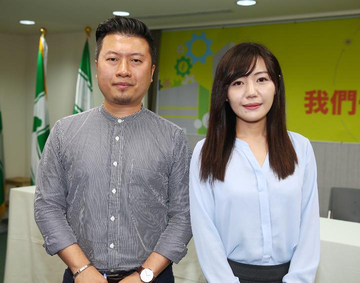 民進黨新增2位黨發言人吳沛憶(右)與張志豪(左)。記者杜建重/攝影