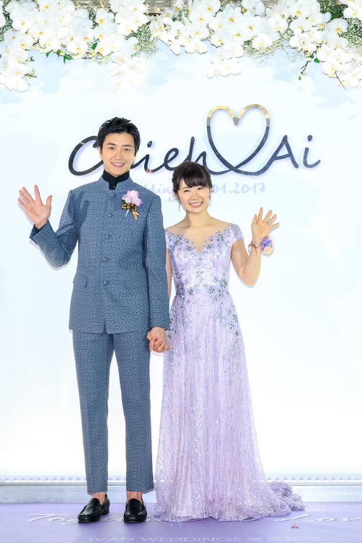 江宏傑與福原愛(右)本月1日於台北舉辦甜蜜婚宴。圖/STARFISH PR星予公關提供