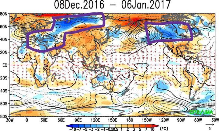 賈新興表示,暖色系表示氣溫偏高,冷色系則代表氣溫偏低,虛線表示氣壓偏低,實線則是氣壓偏高。圖/翻攝自賈新興臉書