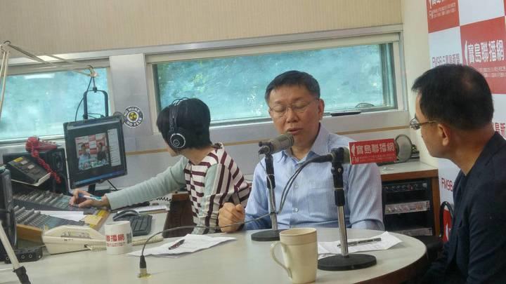 台北市長柯文哲今接受廣播主持人鄭弘儀專訪。記者莊琇閔/攝影
