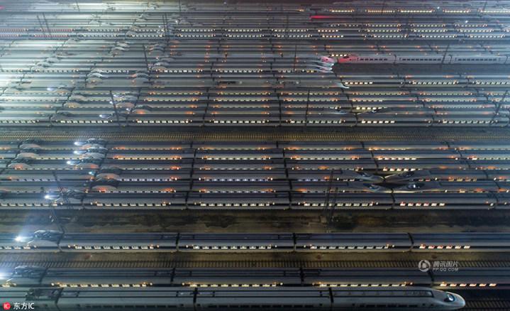 武漢動車段檢修完畢的高鐵列車蓄勢待發。(騰訊圖片)